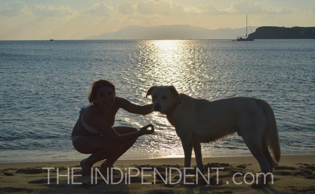 Il mio nuovo amico ed io, baciati dal tramonto di Ios (Manganari Beach).