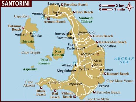 Mappa di Santorini, fonte lonelyplanet.com