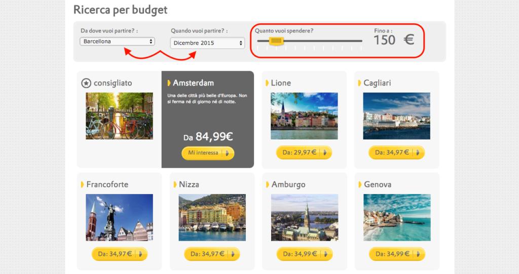 vueling.com - ricerca per budget