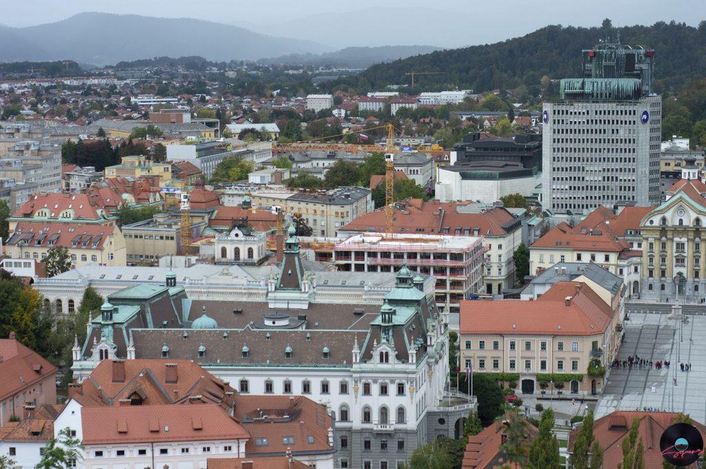 Vista dal Castello di Lubiana, Università e Piazza del Congresso