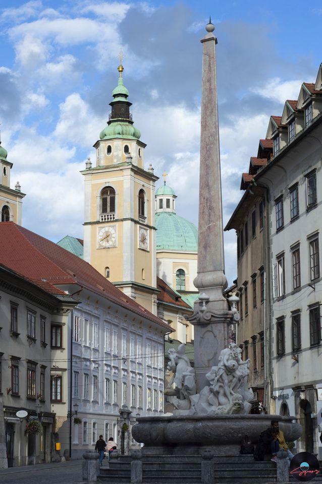 Cattedrale di San Nicola da Piazza del Municipio Lubiana